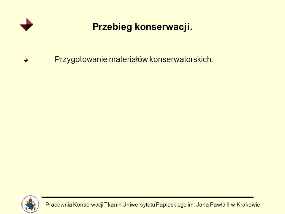 Przebieg konserwacji. Pracownia Konserwacji Tkanin Uniwersytetu Papieskiego im. Jana Pawła II w Krakowie Przygotowanie materiałów konserwatorskich.