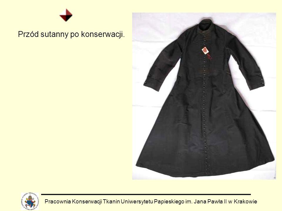 Pracownia Konserwacji Tkanin Uniwersytetu Papieskiego im. Jana Pawła II w Krakowie Przód sutanny po konserwacji.