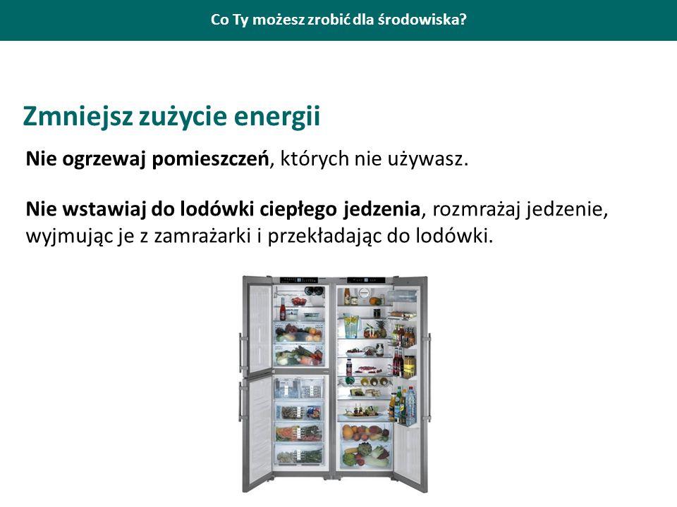 Co Ty możesz zrobić dla środowiska? Zmniejsz zużycie energii Nie ogrzewaj pomieszczeń, których nie używasz. Nie wstawiaj do lodówki ciepłego jedzenia,