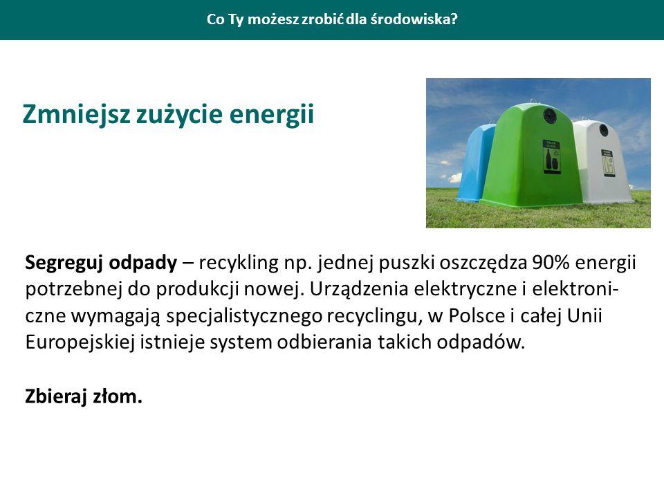 Co Ty możesz zrobić dla środowiska? Zmniejsz zużycie energii Segreguj odpady – recykling np. jednej puszki oszczędza 90% energii potrzebnej do produkc