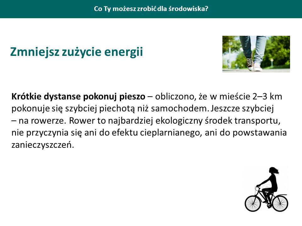 Co Ty możesz zrobić dla środowiska? Zmniejsz zużycie energii Krótkie dystanse pokonuj pieszo – obliczono, że w mieście 2–3 km pokonuje się szybciej pi