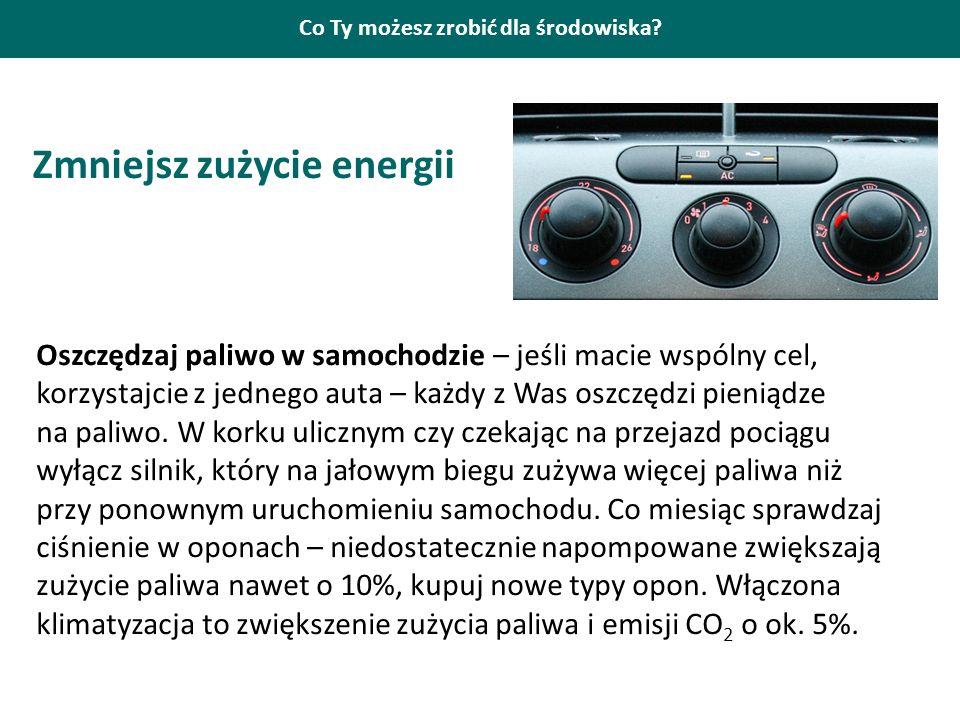 Co Ty możesz zrobić dla środowiska? Zmniejsz zużycie energii Oszczędzaj paliwo w samochodzie – jeśli macie wspólny cel, korzystajcie z jednego auta –