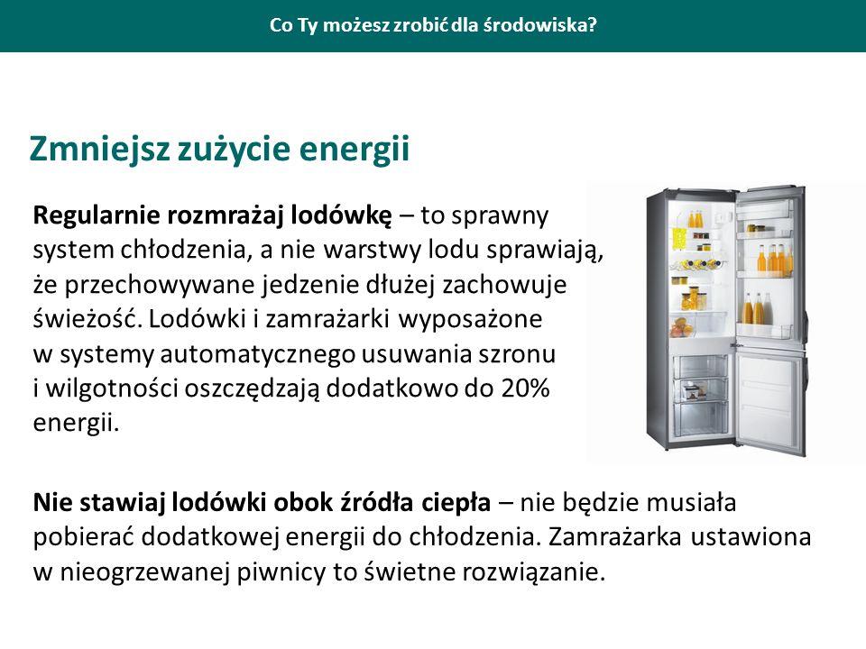 Co Ty możesz zrobić dla środowiska? Zmniejsz zużycie energii Regularnie rozmrażaj lodówkę – to sprawny system chłodzenia, a nie warstwy lodu sprawiają
