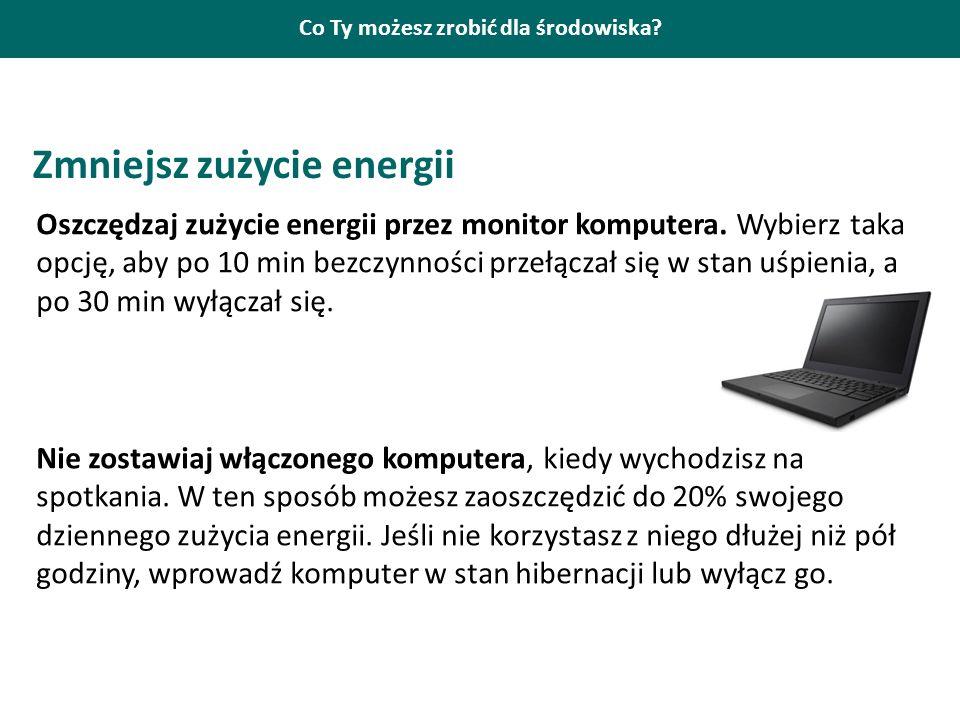 Co Ty możesz zrobić dla środowiska? Zmniejsz zużycie energii Oszczędzaj zużycie energii przez monitor komputera. Wybierz taka opcję, aby po 10 min bez