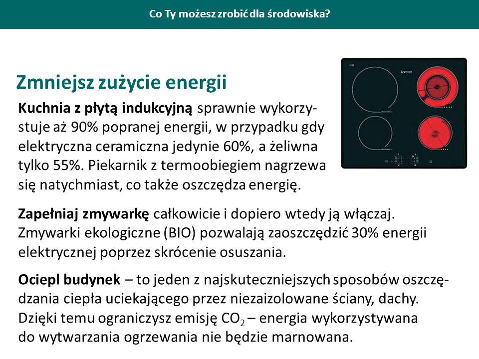 Co Ty możesz zrobić dla środowiska? Zmniejsz zużycie energii Kuchnia z płytą indukcyjną sprawnie wykorzy- stuje aż 90% popranej energii, w przypadku g