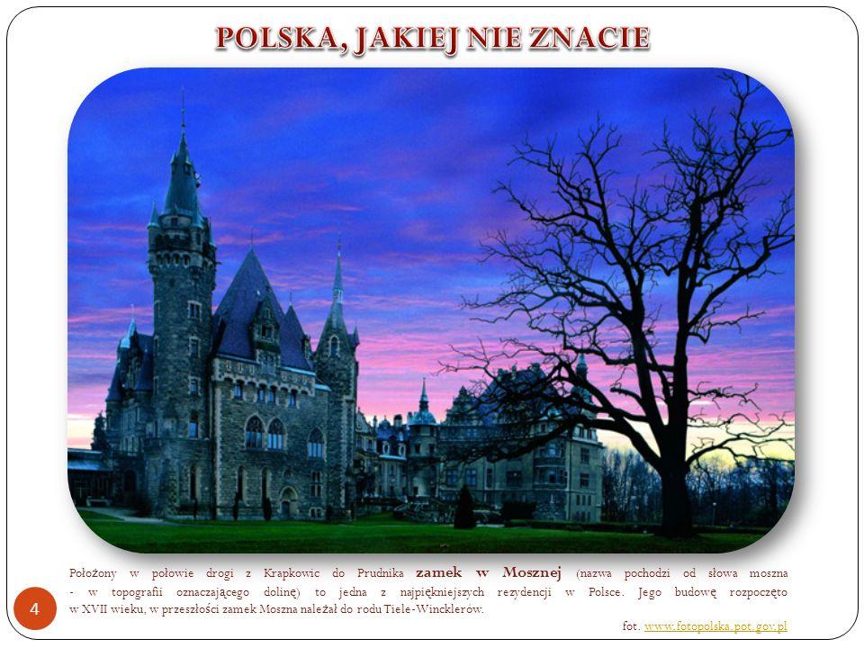 Poło ż ony w połowie drogi z Krapkowic do Prudnika zamek w Mosznej (nazwa pochodzi od słowa moszna - w topografii oznaczaj ą cego dolin ę ) to jedna z najpi ę kniejszych rezydencji w Polsce.