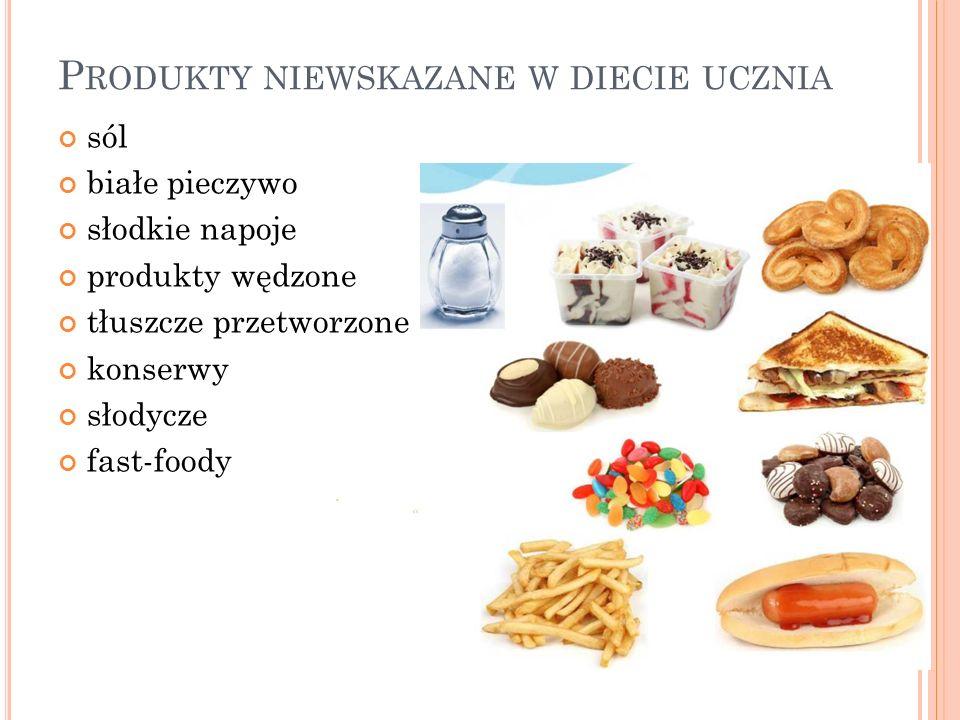 « P RODUKTY NIEWSKAZANE W DIECIE UCZNIA sól białe pieczywo słodkie napoje produkty wędzone tłuszcze przetworzone konserwy słodycze fast-foody