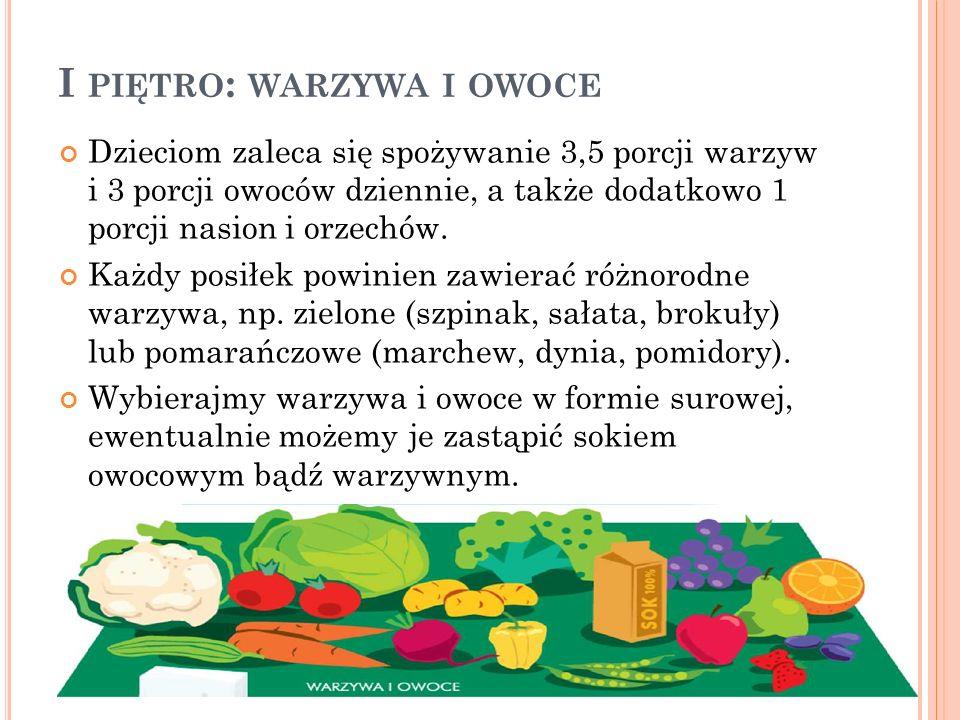 I PIĘTRO : WARZYWA I OWOCE Dzieciom zaleca się spożywanie 3,5 porcji warzyw i 3 porcji owoców dziennie, a także dodatkowo 1 porcji nasion i orzechów.