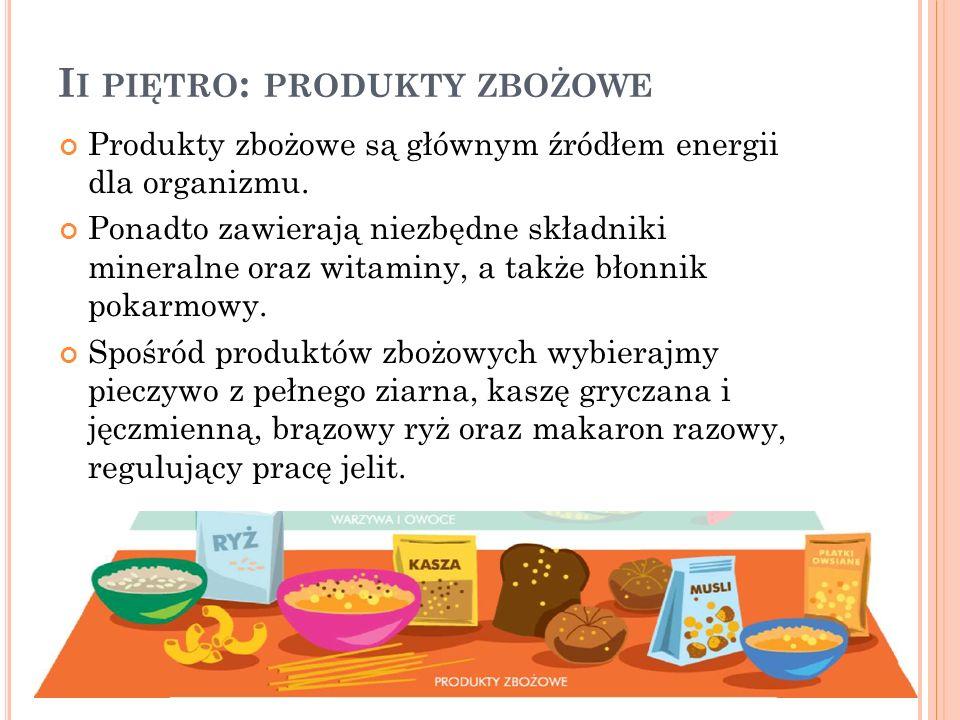 I I PIĘTRO : PRODUKTY ZBOŻOWE Produkty zbożowe są głównym źródłem energii dla organizmu. Ponadto zawierają niezbędne składniki mineralne oraz witaminy