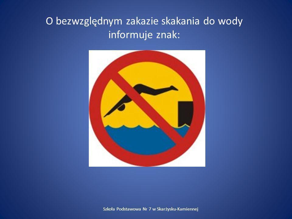 O bezwzględnym zakazie skakania do wody informuje znak: Szkoła Podstawowa Nr 7 w Skarżysku-Kamiennej