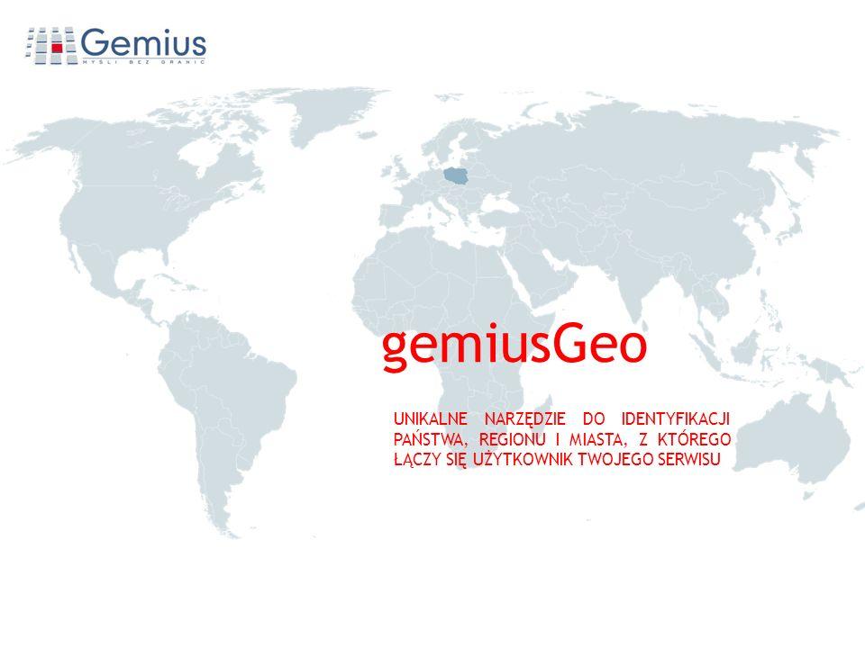 Geo gemiusGeo UNIKALNE NARZĘDZIE DO IDENTYFIKACJI PAŃSTWA, REGIONU I MIASTA, Z KTÓREGO ŁĄCZY SIĘ UŻYTKOWNIK TWOJEGO SERWISU