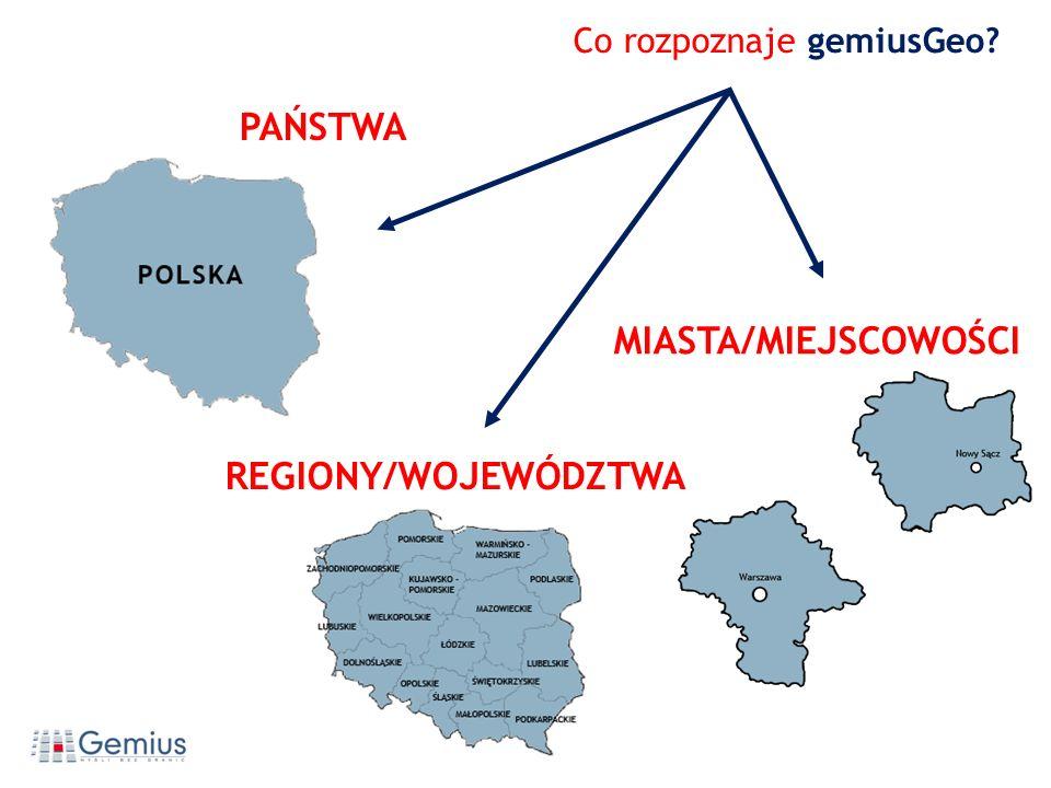 REGIONY/WOJEWÓDZTWA PAŃSTWA Co rozpoznaje gemiusGeo? MIASTA/MIEJSCOWOŚCI