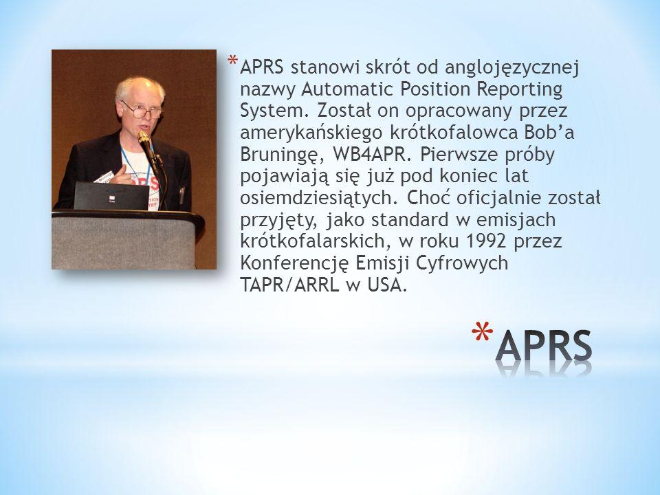 * APRS stanowi skrót od anglojęzycznej nazwy Automatic Position Reporting System.