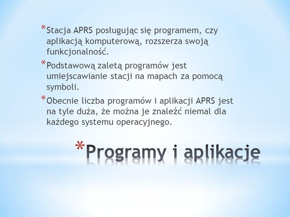 * Podstawową zaletą programów jest umiejscawianie stacji na mapach za pomocą symboli.