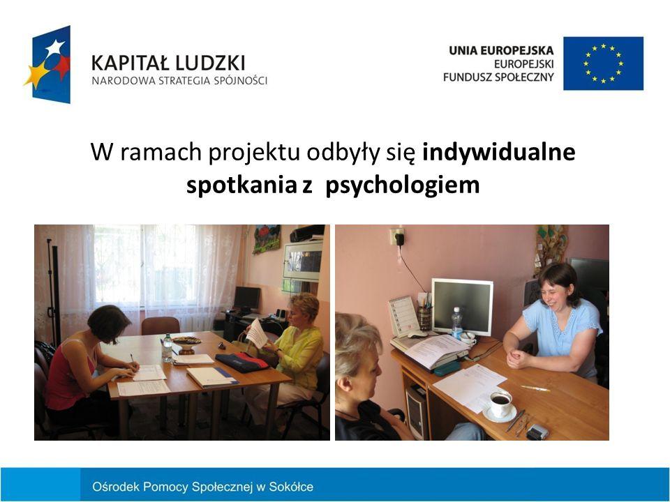 W ramach projektu odbyły się indywidualne spotkania z psychologiem