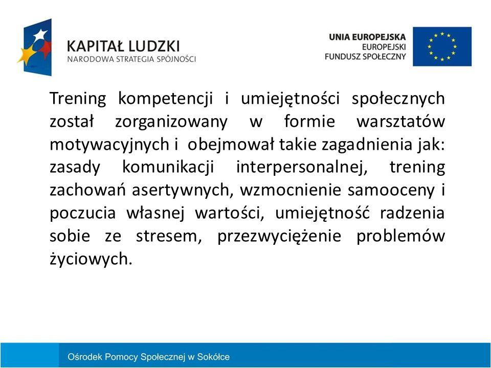 Trening kompetencji i umiejętności społecznych został zorganizowany w formie warsztatów motywacyjnych i obejmował takie zagadnienia jak: zasady komuni