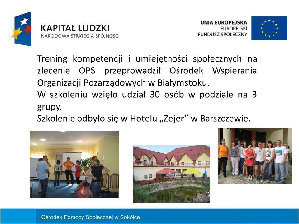 Trening kompetencji i umiejętności społecznych na zlecenie OPS przeprowadził Ośrodek Wspierania Organizacji Pozarządowych w Białymstoku. W szkoleniu w