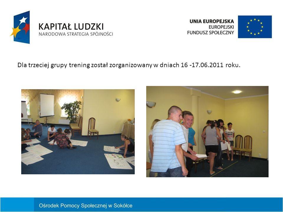 Dla trzeciej grupy trening został zorganizowany w dniach 16 -17.06.2011 roku.