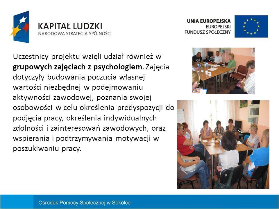 Uczestnicy projektu wzięli udział również w grupowych zajęciach z psychologiem. Zajęcia dotyczyły budowania poczucia własnej wartości niezbędnej w pod