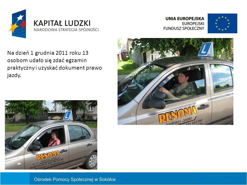 Na dzień 1 grudnia 2011 roku 13 osobom udało się zdać egzamin praktyczny i uzyskać dokument prawo jazdy.