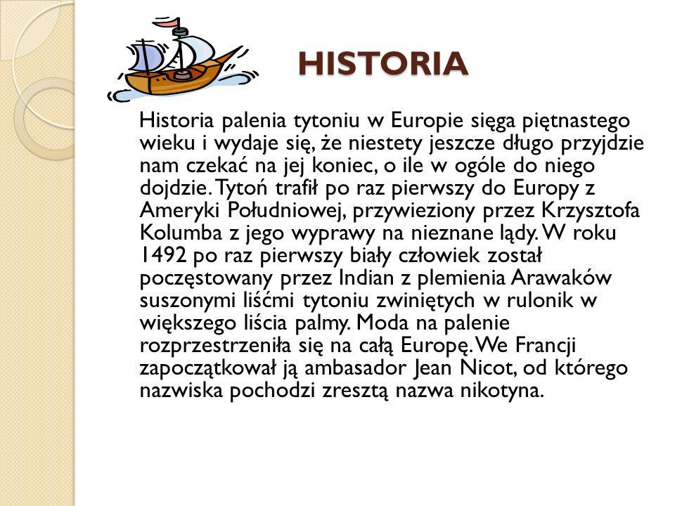 HISTORIA Historia palenia tytoniu w Europie sięga piętnastego wieku i wydaje się, że niestety jeszcze długo przyjdzie nam czekać na jej koniec, o ile w ogóle do niego dojdzie.