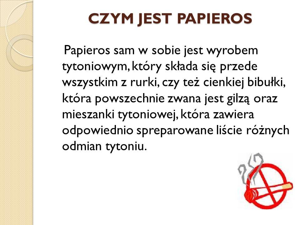 CZYM JEST PAPIEROS Papieros sam w sobie jest wyrobem tytoniowym, który składa się przede wszystkim z rurki, czy też cienkiej bibułki, która powszechnie zwana jest gilzą oraz mieszanki tytoniowej, która zawiera odpowiednio spreparowane liście różnych odmian tytoniu.