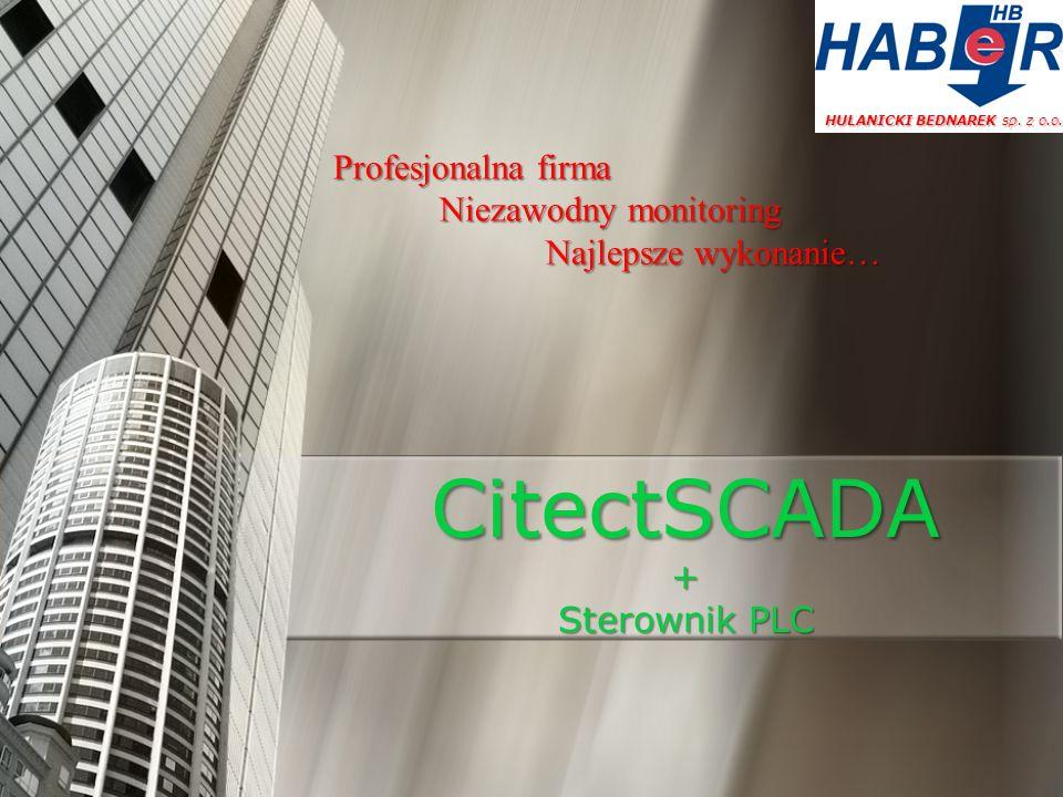 Przykładowe zrzuty ekranów aplikacji CitectSCADA - monitoring energetyczny(stan wyłączników, APS, GENERATOR), temperatury i wilgotności, oraz zalania HULANICKI BEDNAREK sp.