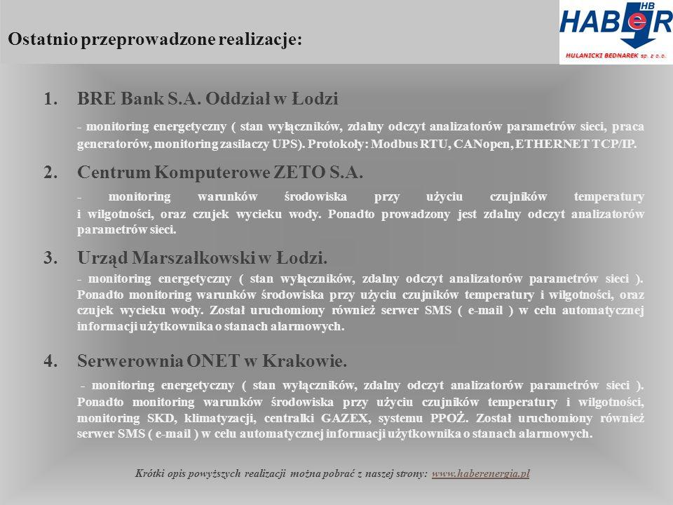 Ostatnio przeprowadzone realizacje: HULANICKI BEDNAREK sp.