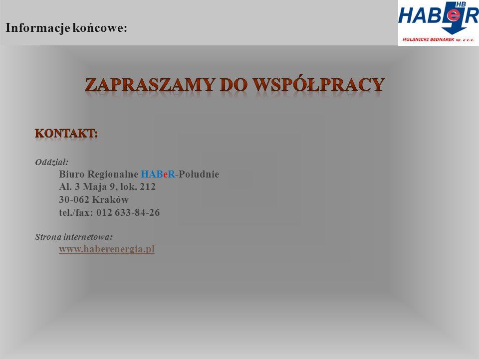 Informacje końcowe: HULANICKI BEDNAREK sp. z o.o.