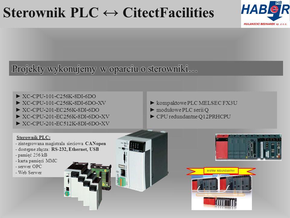 Sterownik PLC CitectFacilities Sterownik PLC: - zintegrowana magistrala sieciowa CANopen - dostępne złącza: RS-232, Ethernet, USB - pamięć 256 kB - karta pamięci MMC - serwer OPC - Web Serwer HULANICKI BEDNAREK sp.