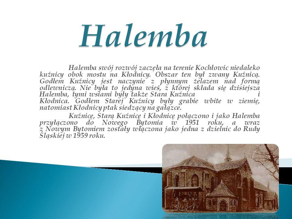 Halemba swój rozwój zaczęła na terenie Kochłowic niedaleko kuźnicy obok mostu na Kłodnicy. Obszar ten był zwany Kuźnicą. Godłem Kuźnicy jest naczynie