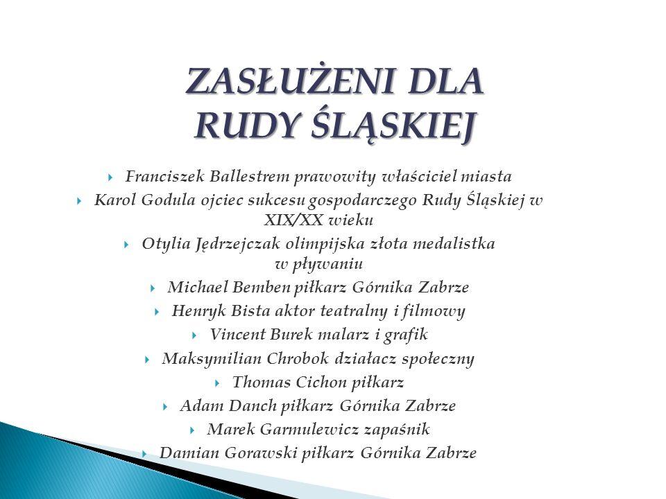 Franciszek Ballestrem prawowity właściciel miasta Karol Godula ojciec sukcesu gospodarczego Rudy Śląskiej w XIX/XX wieku Otylia Jędrzejczak olimpijska