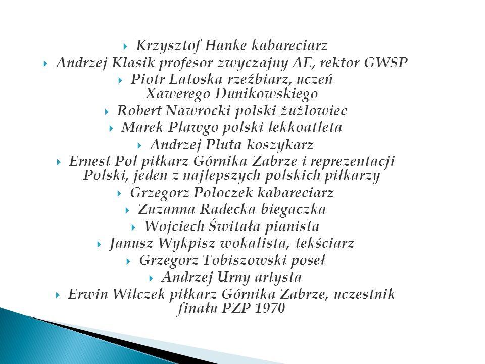 Krzysztof Hanke kabareciarz Andrzej Klasik profesor zwyczajny AE, rektor GWSP Piotr Latoska rzeźbiarz, uczeń Xawerego Dunikowskiego Robert Nawrocki po