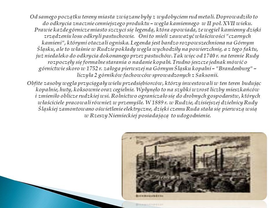 Od samego początku tereny miasta związane były z wydobyciem rud metali. Doprowadziło to do odkrycia znacznie cenniejszego produktu – węgla kamiennego