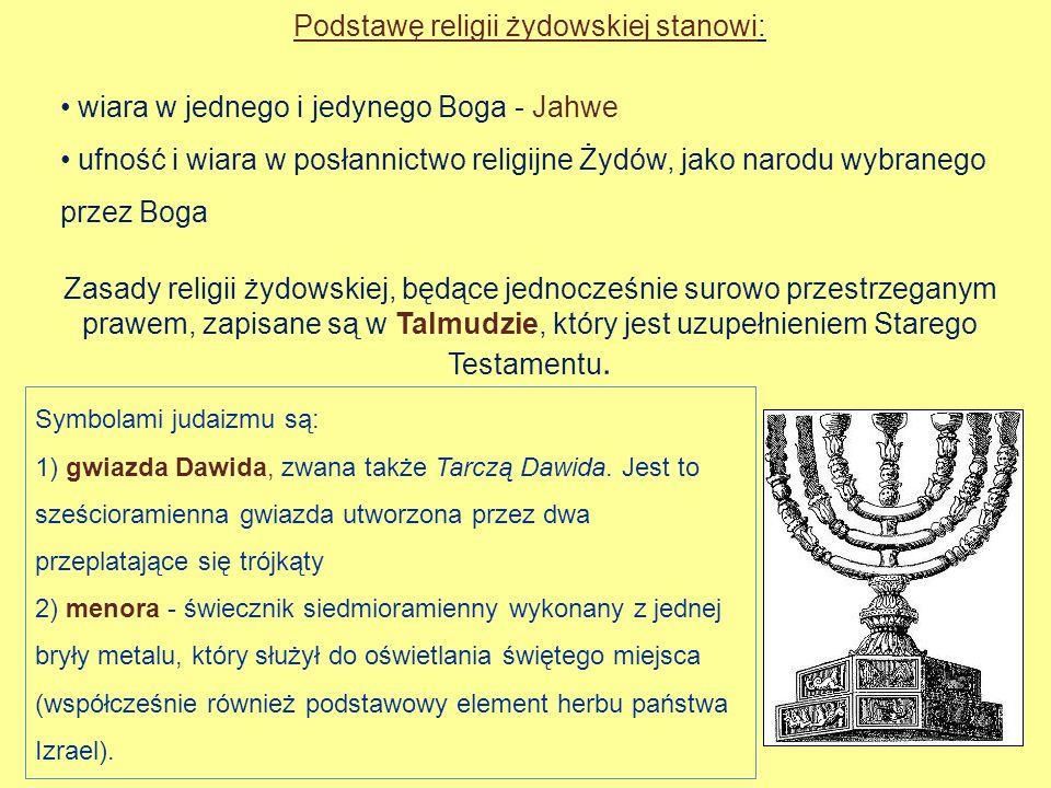 Podstawę religii żydowskiej stanowi: wiara w jednego i jedynego Boga - Jahwe ufność i wiara w posłannictwo religijne Żydów, jako narodu wybranego prze