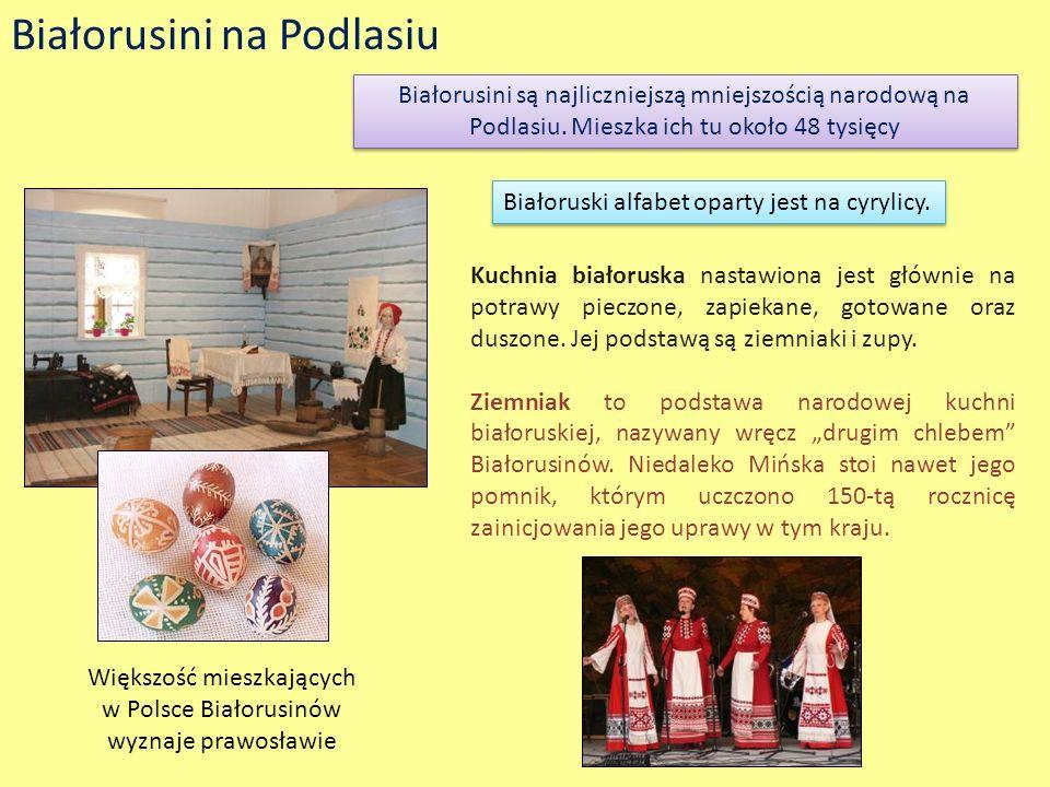 Białorusini na Podlasiu Białorusini są najliczniejszą mniejszością narodową na Podlasiu. Mieszka ich tu około 48 tysięcy Białoruski alfabet oparty jes