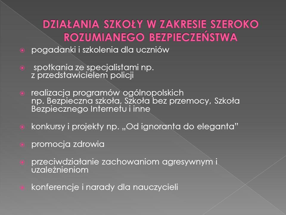 pogadanki i szkolenia dla uczniów spotkania ze specjalistami np. z przedstawicielem policji realizacja programów ogólnopolskich np. Bezpieczna szkoła,