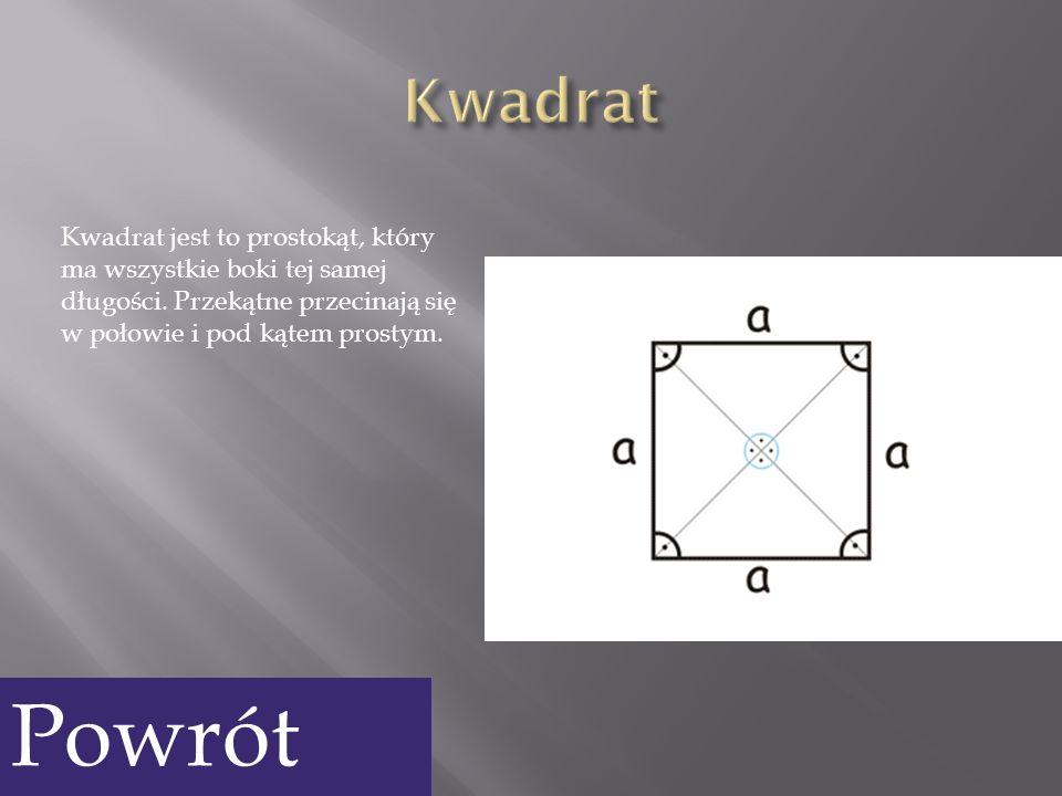 Kwadrat jest to prostokąt, który ma wszystkie boki tej samej długości. Przekątne przecinają się w połowie i pod kątem prostym. Powrót