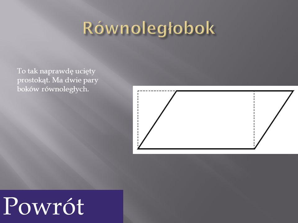 Trapezami są prostokąty, kwadraty, równoległoboki i romby.