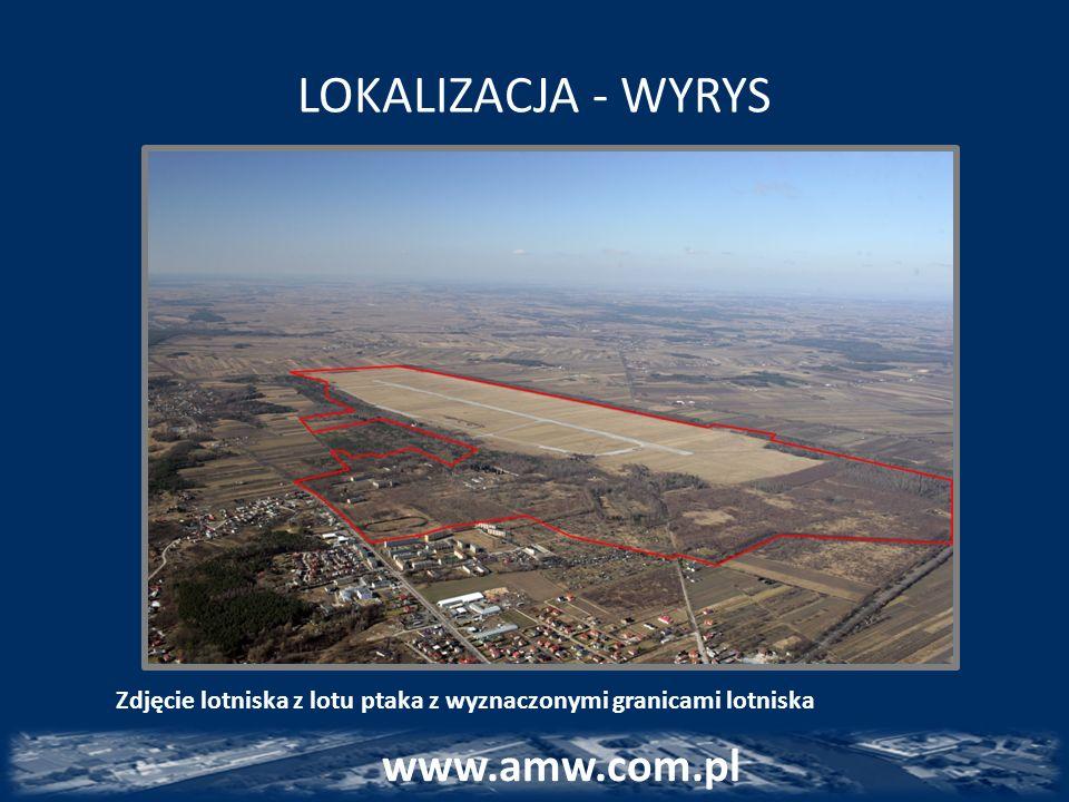 LOKALIZACJA - WYRYS www.amw.com.pl Zdjęcie lotniska z lotu ptaka z wyznaczonymi granicami lotniska