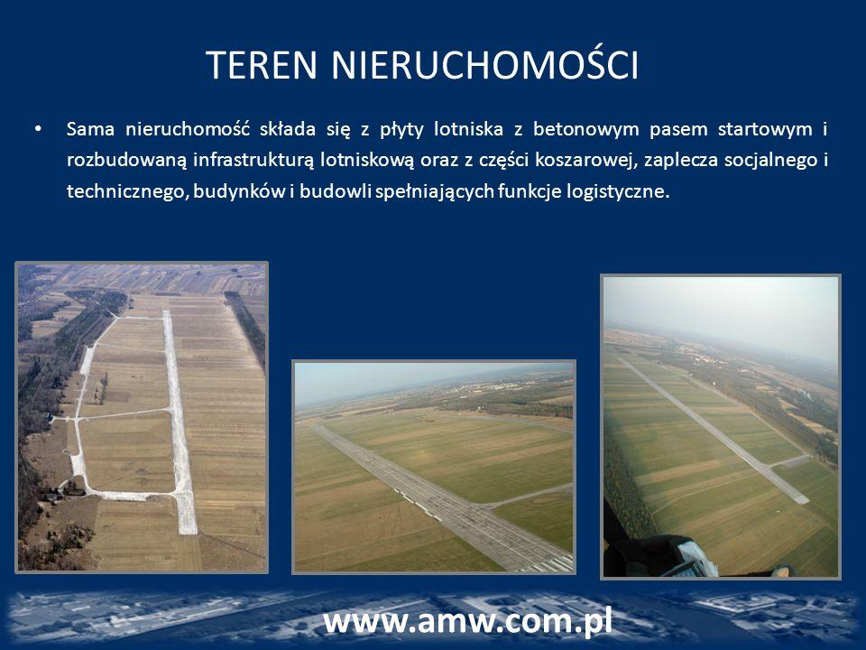 TEREN NIERUCHOMOŚCI Sama nieruchomość składa się z płyty lotniska z betonowym pasem startowym i rozbudowaną infrastrukturą lotniskową oraz z części ko