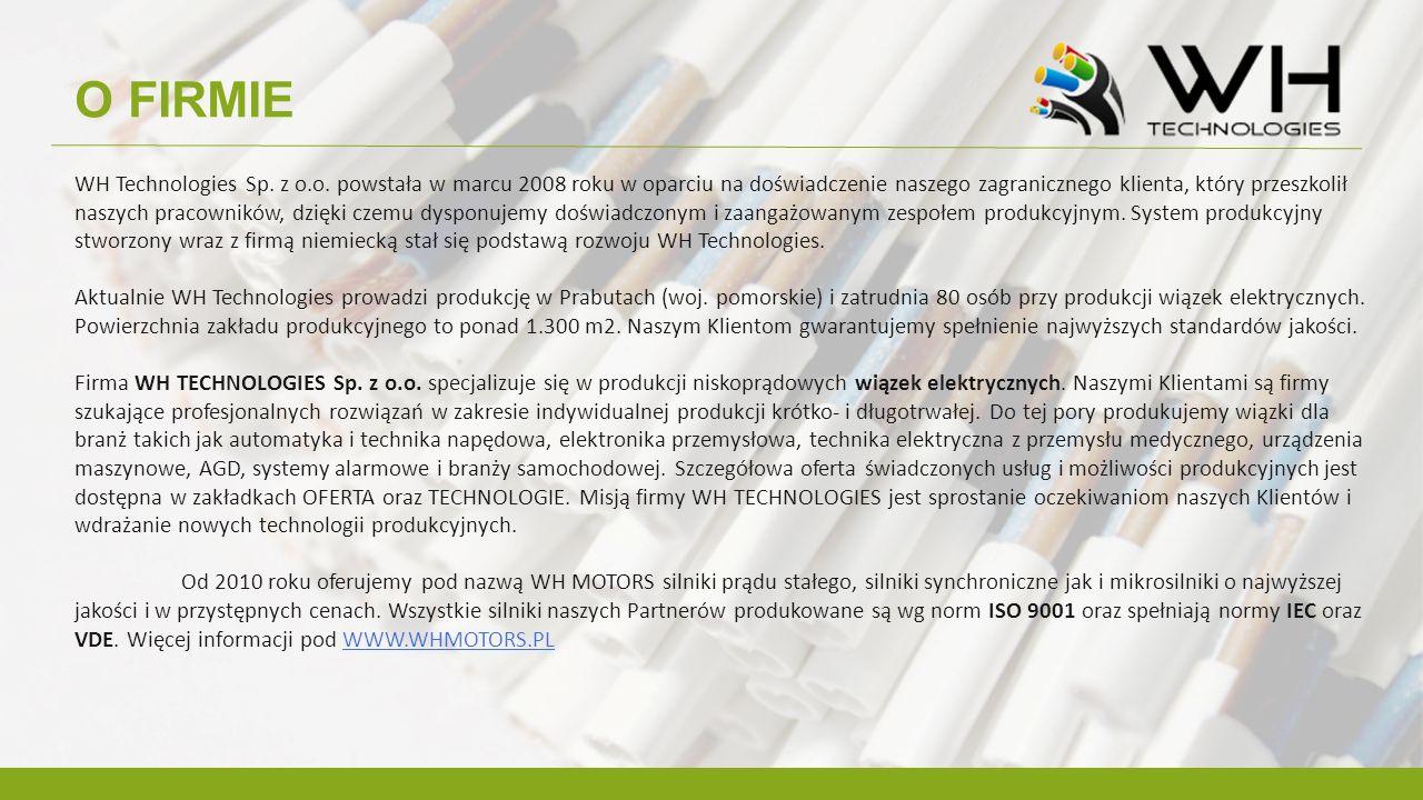 O FIRMIE WH Technologies Sp. z o.o. powstała w marcu 2008 roku w oparciu na doświadczenie naszego zagranicznego klienta, który przeszkolił naszych pra