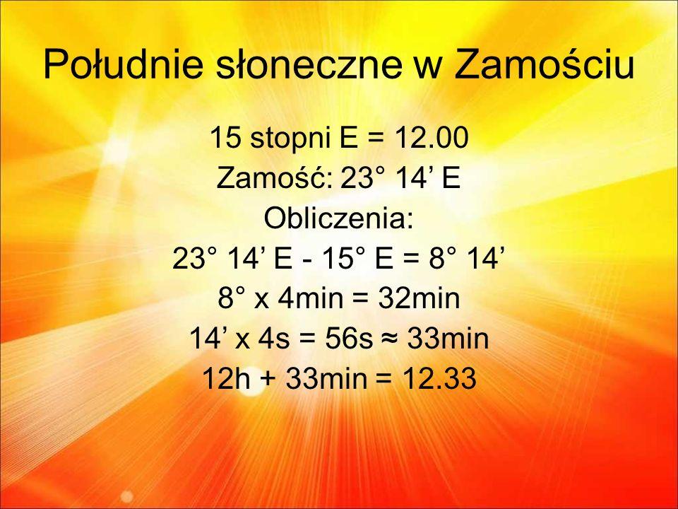 Południe słoneczne w Zamościu 15 stopni E = 12.00 Zamość: 23° 14 E Obliczenia: 23° 14 E - 15° E = 8° 14 8° x 4min = 32min 14 x 4s = 56s 33min 12h + 33min = 12.33