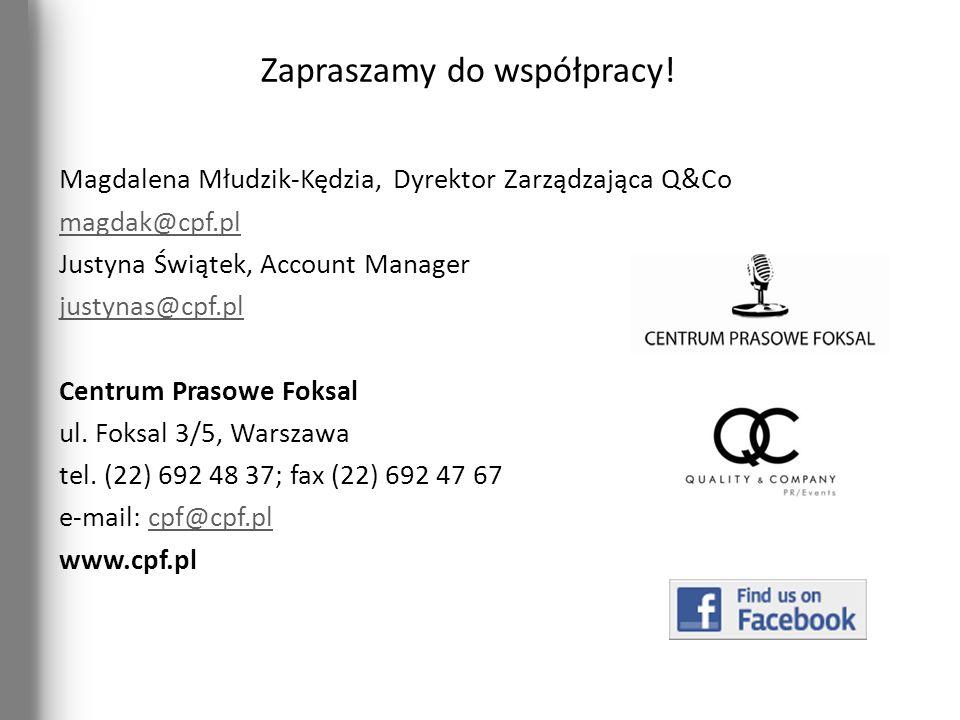 Zapraszamy do współpracy! Magdalena Młudzik-Kędzia, Dyrektor Zarządzająca Q&Co magdak@cpf.pl Justyna Świątek, Account Manager justynas@cpf.pl Centrum