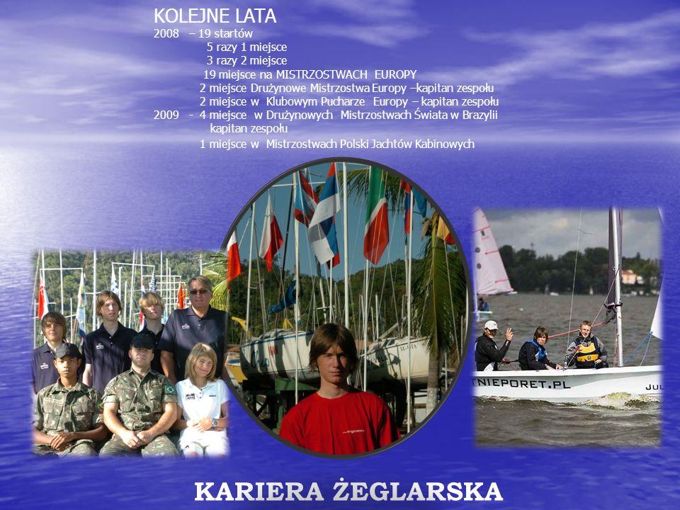 KOLEJNE LATA 2008 – 19 startów 5 razy 1 miejsce 3 razy 2 miejsce 19 miejsce na MISTRZOSTWACH EUROPY 2 miejsce Drużynowe Mistrzostwa Europy –kapitan ze