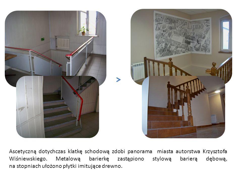 Ascetyczną dotychczas klatkę schodową zdobi panorama miasta autorstwa Krzysztofa Wiśniewskiego.