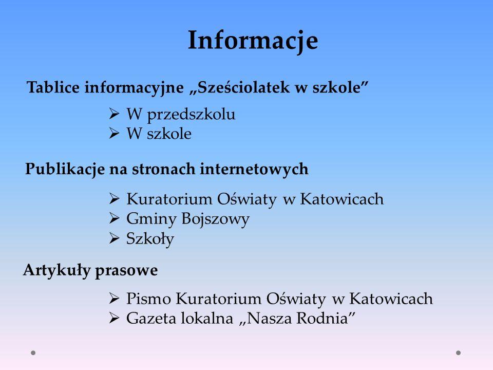Kuratorium Oświaty w Katowicach Gminy Bojszowy Szkoły Artykuły prasowe W przedszkolu W szkole Informacje Publikacje na stronach internetowych Tablice