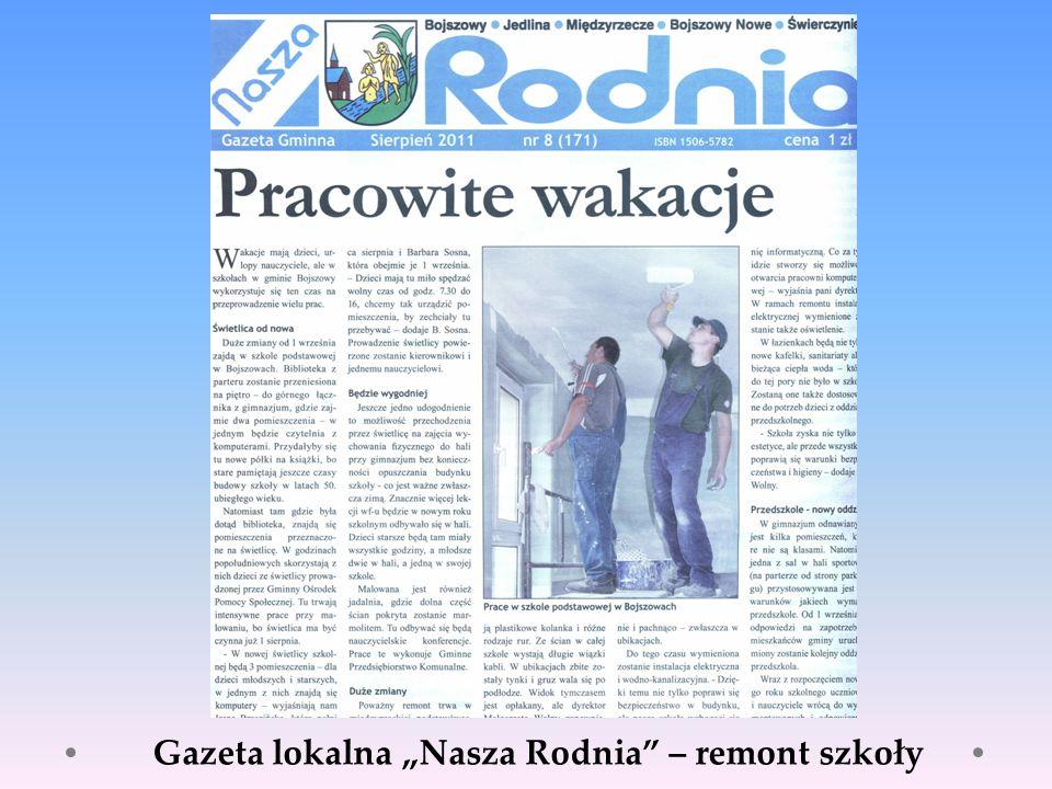 Gazeta lokalna Nasza Rodnia – remont szkoły