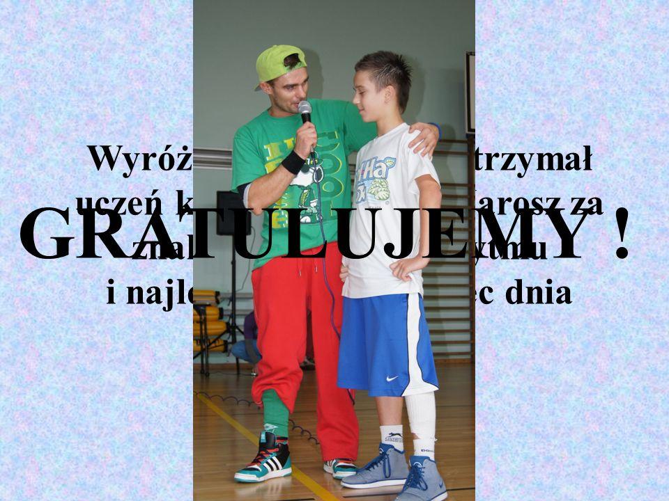 Wyróżnienie specjalne otrzymał uczeń klasy 6a – Tymek Jarosz za znakomite poczucie rytmu i najlepszy solowy taniec dnia GRATULUJEMY !