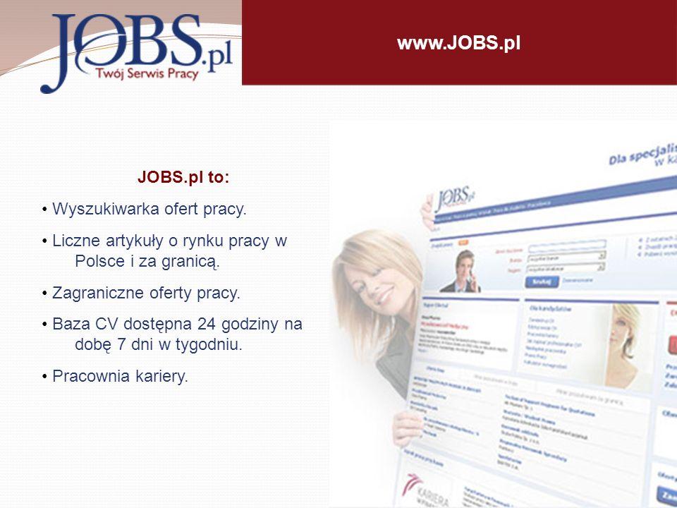 Internetowy Serwis Pracy JOBS.pl Od ponad13 lat na rynku - pierwszy w Polsce Internetowy Serwis Pracy.